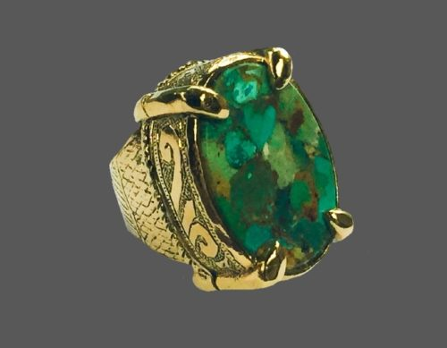 Turquoise gold plated Cocktail Ring