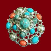 Turquoise, pearl and coral dome Pin. Silver tone jewelry alloy and faux stones