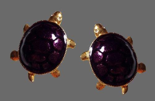 Turtle clips. Gold tone, dark purple enamel, eyes decorated with transparent Swarovski crystals
