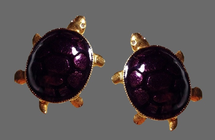 Turtle clips. Gold tone, dark purple enamel, eyes decorated with transparent Swarovski crystals