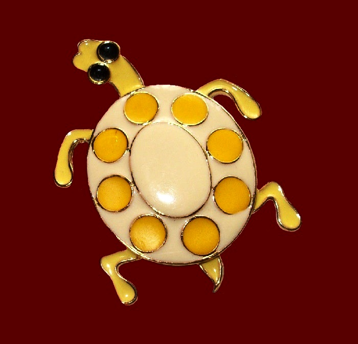 Turtle pendant. Yellow and cream enamel, gold tone jewelry alloy