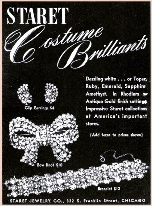 Vintage ads Staret vintage costume jewelry