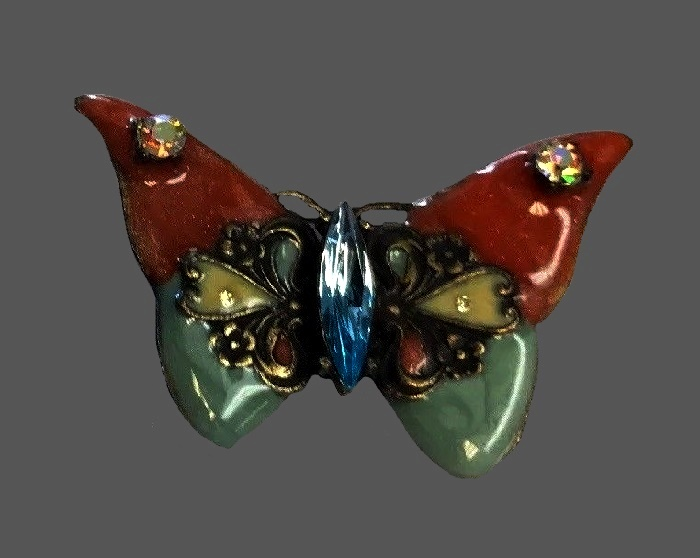 Vintage butterfly brooch. Jewelry alloy, multicolor enamel