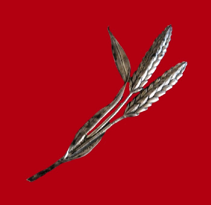Wheat ear brooch, sterling silver