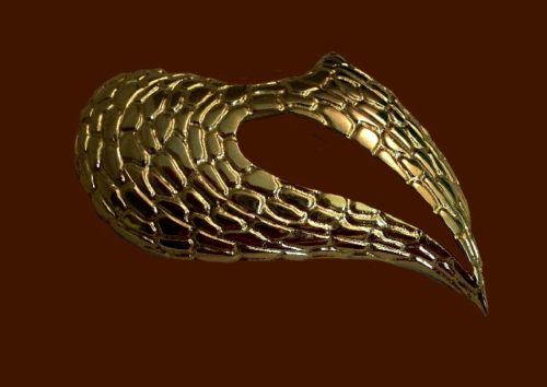 Wings gold tone textured brooch