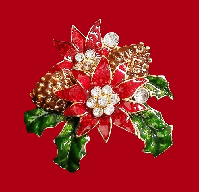 Xmas Poinsettia flower brooch. Gold tone jewelry alloy, red enamel, crystals