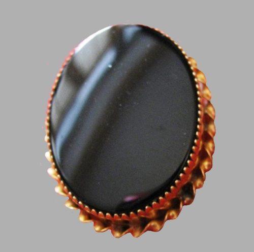 1950s black onyx oval brooch pendant