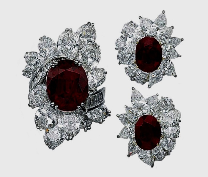 A set of ruby and diamond ring and earrings