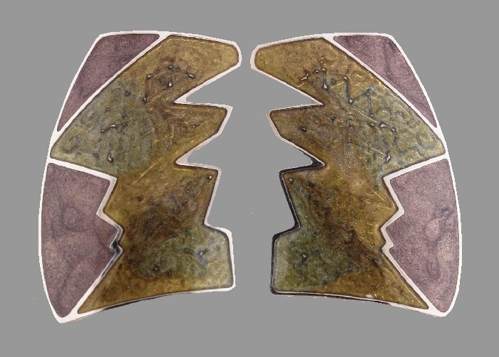 Abstract design enameled vintage clips