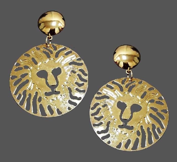Anne Klein lion. Gold tone metal. 5.8 cm
