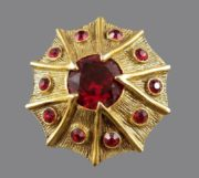Antique faux ruby stones gold tone textured metal brooch