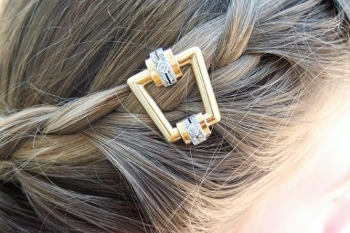 Antique gold and diamond buckle as hair ornament