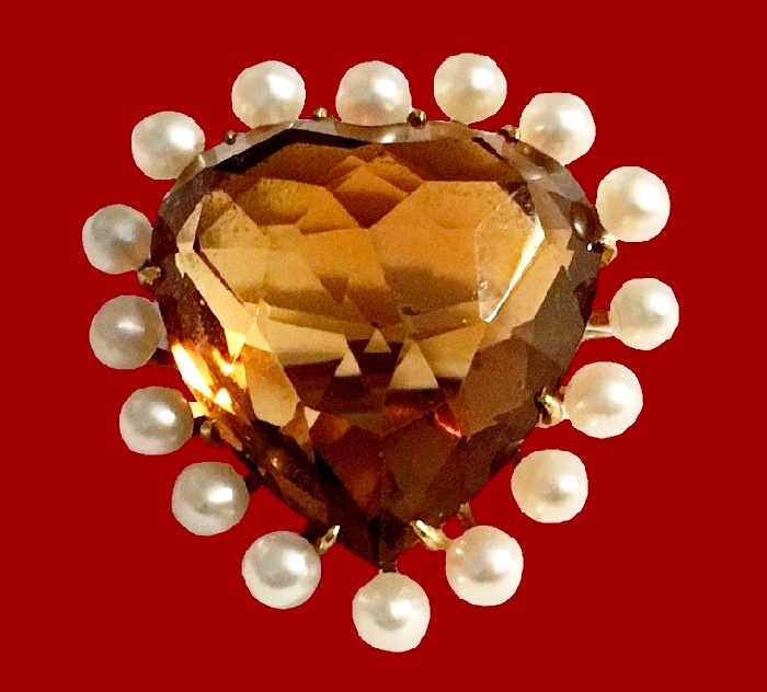 Art Nouveau heart brooch. Citrine, Pearls
