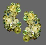 Aurora Borealis beads clip on earrings