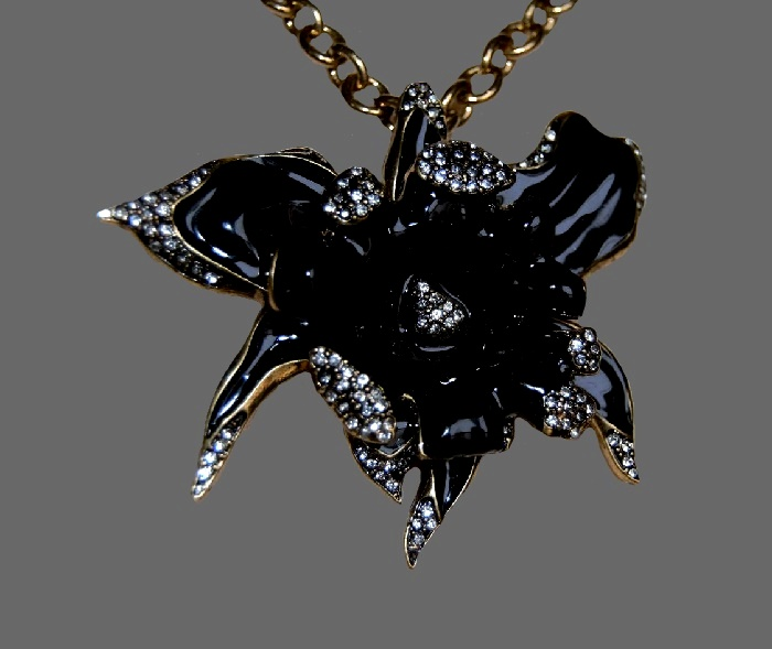 Beautiful black orchid necklace pendant. Jewelry alloy, brass, crystals, enamel
