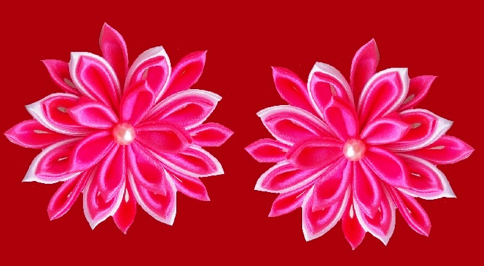 Beautiful pink flowers made of silk