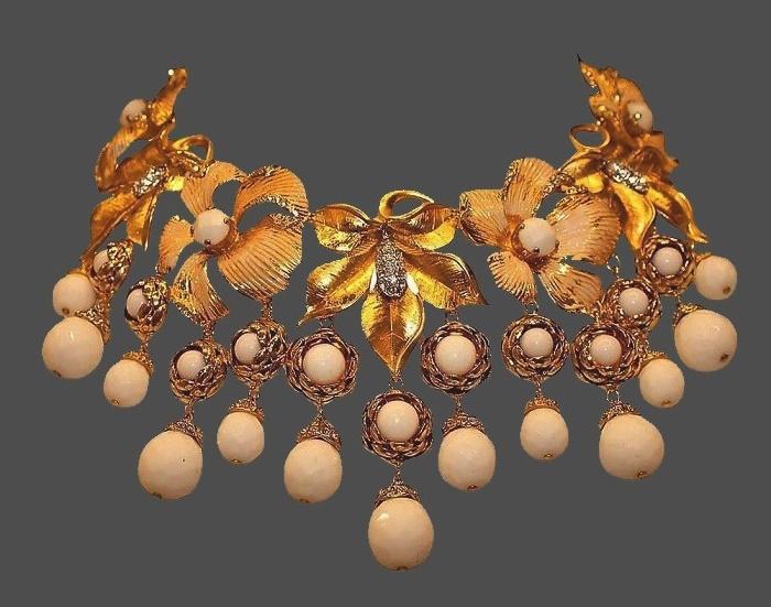 Blooming apple branch necklace. Gold tone jewelru alloy, art glass, enamel