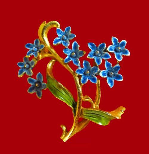 Blue flowers vintage brooch
