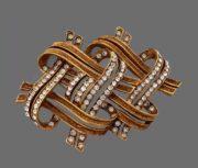 Brushed gold rhinestone ribbon brooch