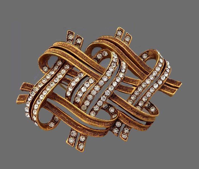 Brushed gold rhinestone ribbon brooch