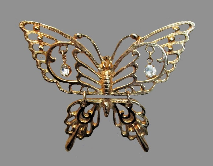 Butterfly pendant. Gold tone metal, rhinestones