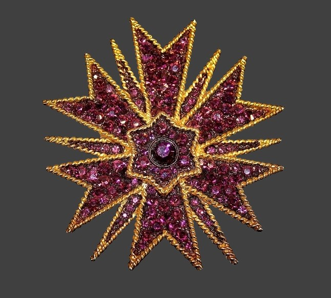 Christmas Star brooch. Rhodium and gold plated alloy, multi colored crystals. 9cm (3.54 inches)