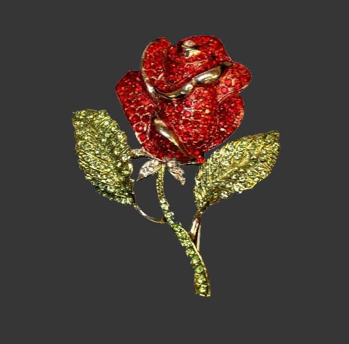 Classic design Rose brooch. Jewelry alloy, red and transparent crystals, enamel
