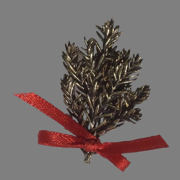 Created from tiny real fir boughs life-like brooch. Cast in the unique and advanced Flora Danica casting technique