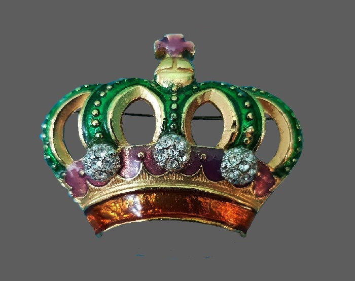 Crown brooch. Gold tone jewelry alloy, rhinestones, crystals, enamel