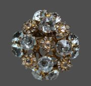 Crystal brooch. Sterling silver, gold plated, crystals. 4.5 cm