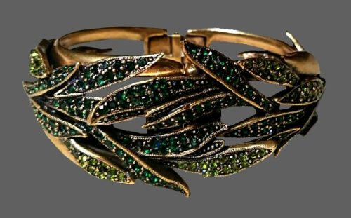 Cuff bracelet. Jewelry alloy, Swarovski crystals