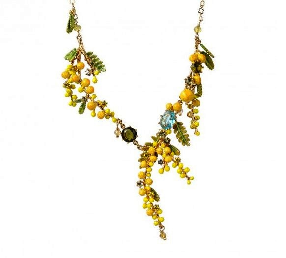 Delicate yellow flowers enameled necklace