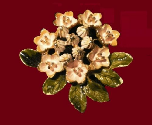 Dogwood flower brooch. Jewelry alloy, enamel