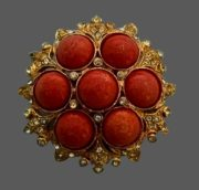 Dome gold tone brooch with large orange cabochons, clear rhinestones