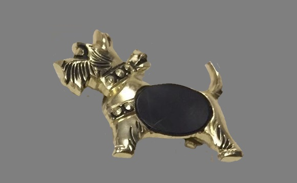 Dutchhound dog brooch of gold tone, black plastic