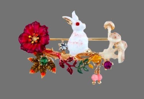 Easter Bunny enameled brooch