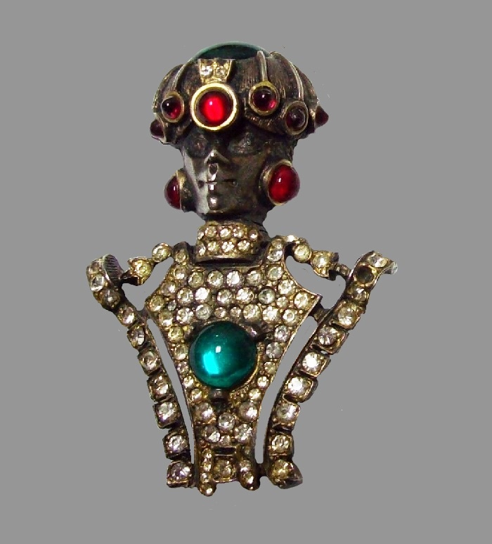 Egyptian king vintage brooch. Rhinestones, enamel, glass cabochons