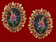 Embroidery style cameo earrings. Rose pattern, gold tone, rhinestones. 1950s
