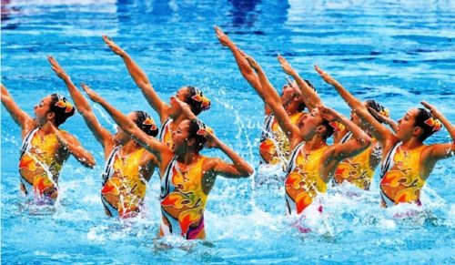 Even members of the national synchronized swimming team dress their hair with traditional hairpins