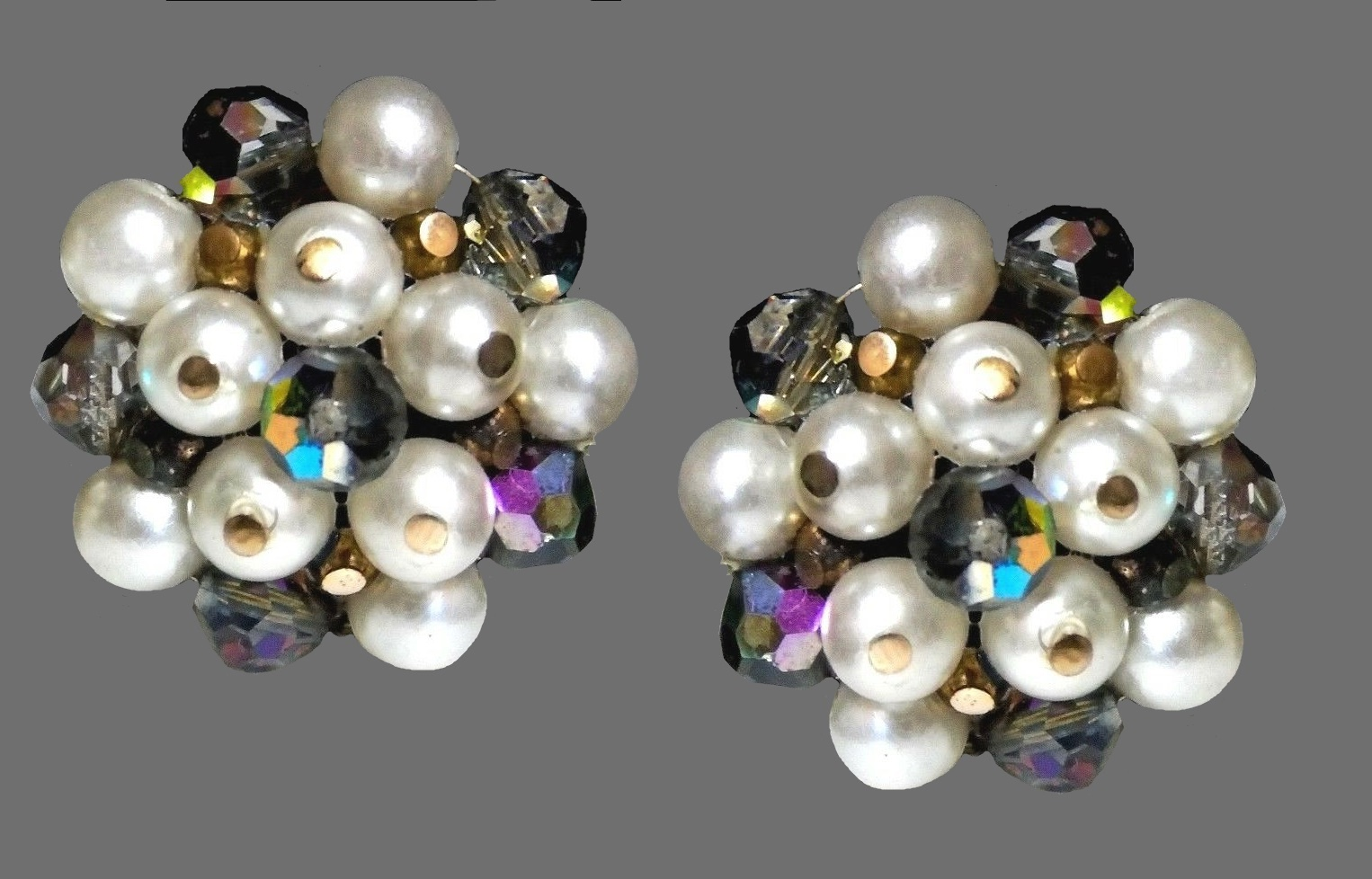 Faux pearl, Swarovski crystal cluster earrings