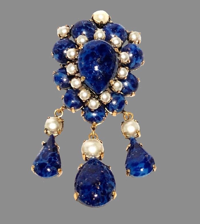 Faux pearl lapis glass cabochon dangle brooch pendant