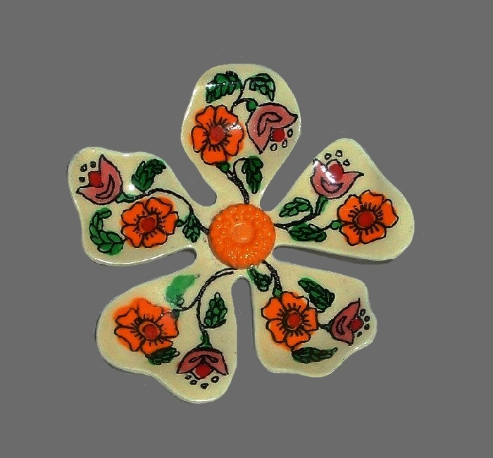 Folk motif floral pattern handpainted enameled flower brooch