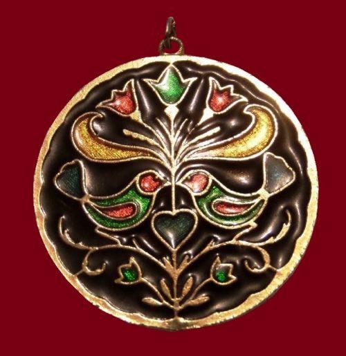 Folk ornament birds and flowers enameled pendant