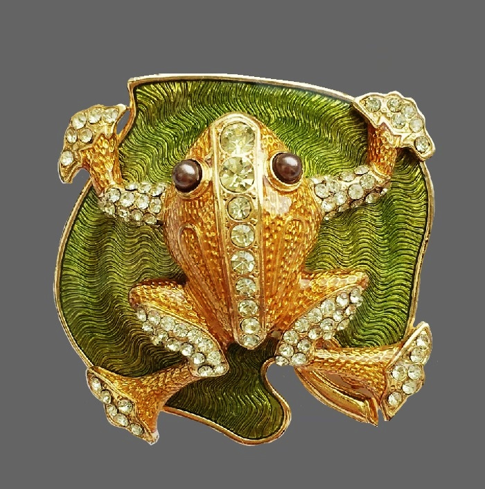 Frog limited edition brooch. Jewelry alloy, Swarovski crystals, faux pearls, enamels