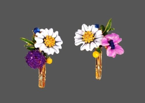 Garden flowers enameled earrings