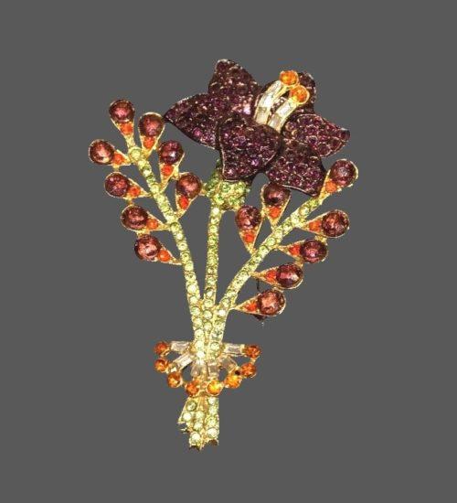 Garnet color lily flower brooch