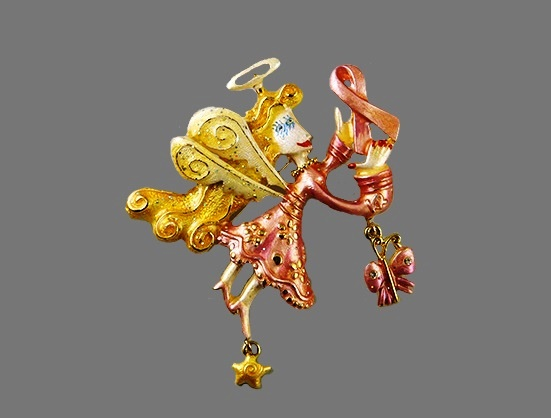 Gold Fancy Flights brooch with charms and Breast cancer sign. Gold tone jewelry alloy, enamel, rhinestones. 2003