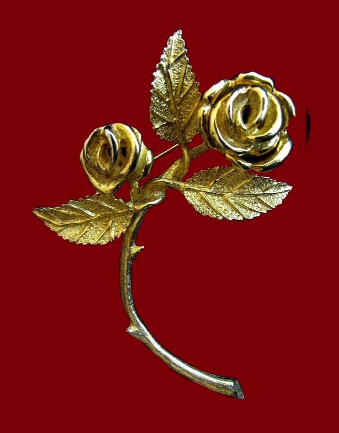 Gold rose vintage 1950s brooch, signed House of Schrager
