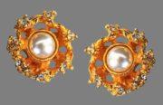 Gold tone faux pearl earrings