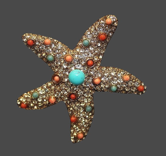 Gorgeous Starfish earrings. Art glass, crystals, rhinestones